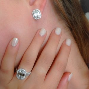 Emerald shape Halo Diamond Earrings DeNovelty collection