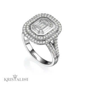 Double Halo Emerald Diamond Ring Combination – DeNovelty Collection