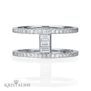 Double Diamond Ring with Baguettes center