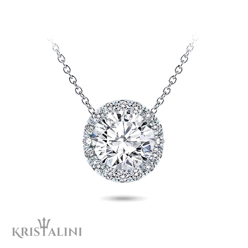 Round halo diamond pendant necklace kristalini round halo diamond pendant necklace mozeypictures Images