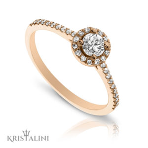 Elegant Engagement Diamond Ring Halo Center set with Pav'e set Diamonds on the sides