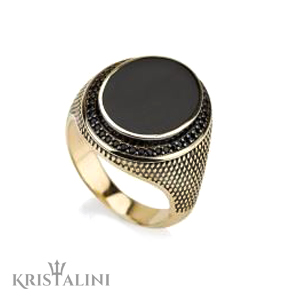Onyx and Black Diamonds Gold Stamp Ring for Man