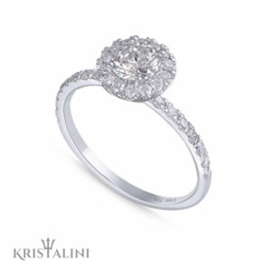 Stunning Halo Engagement Diamond Ring pav'e setting side Diamonds
