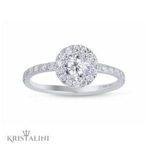 Stunning Halo Engagement Diamond Ring pav'e setting side Diamonds