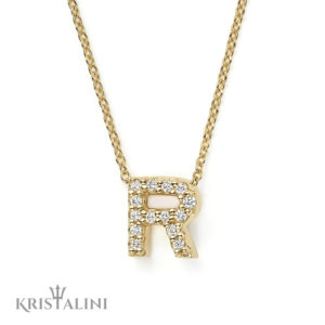 Diamond Initials Pendant mounted in White or Black Diamonds