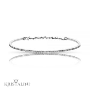 Diamond Cuff chain Bangle with Diamonds set in Pave channel settimg