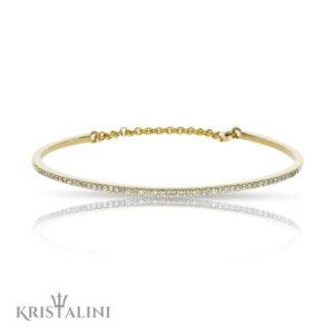 Diamond Cuff chain Bangle with Diamonds set in Pave channel settimg