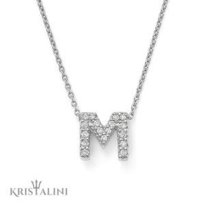 Diamond Initials Pendant mounted in White or Black Diamonds