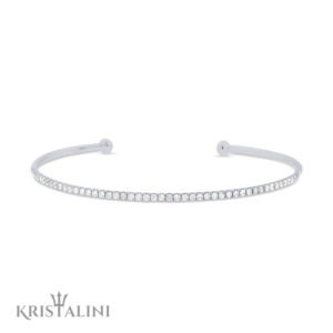 Classic and Elegant Open Slim Diamond Cuff Bangle set in White or Black Diamonds