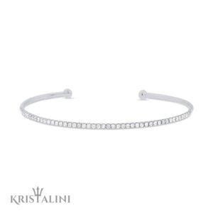 Classic and Elegant Open Slim Diamond Cuff Bangle set in White or Black Diamonds