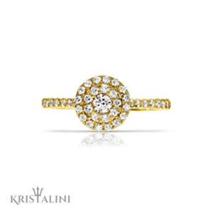 Classic Engagement Diamond Ring halo set  with two rows of Diamonds each side