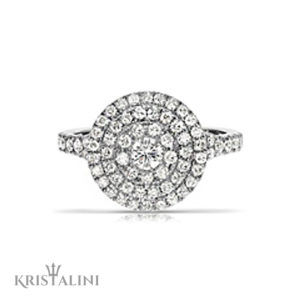 Amazing Engagment Ring Center Diamond surrounded by 3 Diamond halos