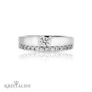 Double Engagment Ring Diamond Solitaire set with diamonds around