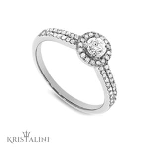 Diamond Engagement Ring 4 prongs halo set with two rows of Diamonds on each side