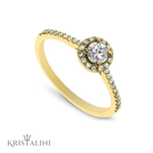 Classic Halo Engagment Diamond Ring set with Diamonds on each side