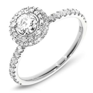 Engagement Diamond Ring two rows Halo with Diamonds set on each side