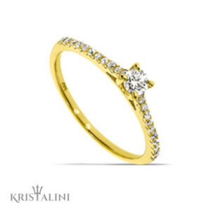 Classic Solitaire Diamond Engagement Ring four Prongs set with Diamonds each side