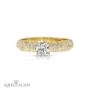 Classic Solitaire Diamond Engagement Ring set with three rows of diamonds on the sides