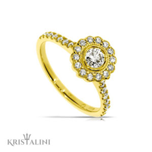 Diamond Engagement Ring channel set surrounded by flower shape halo