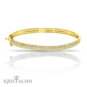 Luxurious Diamond Bracelet Bangle three rows of Diamonds
