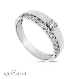 Double Engagment Ring Diamond Solitaire set with diamonds around