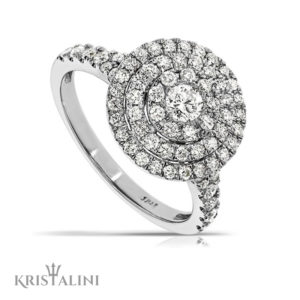 Amazing Engagment Ring Center Diamond surrounded by 3 Diamond halos