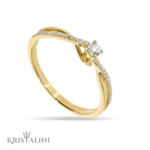 Solitare Diamond Engagement 4 prongs spiral Ring set with Diamonds at each side
