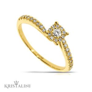 Engagment Diamond Ring halo center wavy shape set with Diamonds on the side