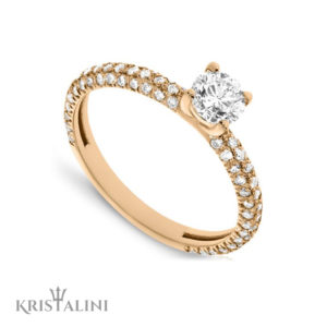 Classic Diamond Engagement Ring 4 Prongs set with three rows of Diamonds each side