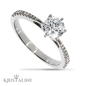 Classic Diamond Engagement Ring 6 prongs set with Diamonds on each side