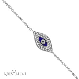 Blue Enamel Evil Eye chain Bracelet good luck charm set with Diamonds