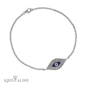 Blue Enamel Evil Eye chain Bracelet good luck charm set with Diamonds