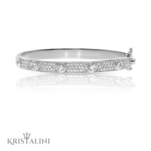 Luxurious Bangle Diamonds Tennis Bracelet Center Diamonds channel set 3 rows of Diamonds
