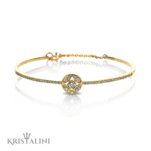 Bangle Bracelet Round Diamond Center Halo