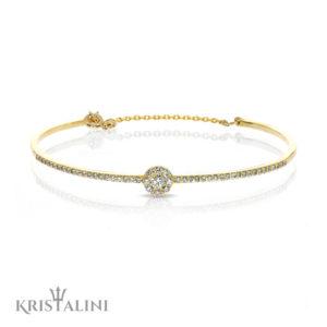 Bengal Tennis Bracelet set with Diamonds halo Diamond Center