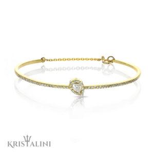 Bengal Diamonds Tennis Bracelet with a halo Pear Shape Diamond Center
