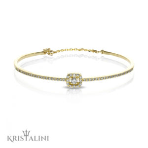 Classic Diamond Bracelet Round Diamond Halo center Channel set