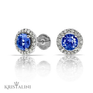 Topaz stud Earrings set with a halo of Diamonds