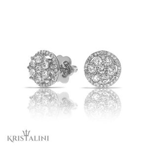 Diamond Stud Earrings surrounded by a halo of Diamonds
