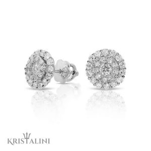Diamond Stud Earrings with two halos of Diamonds