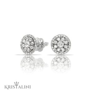 Diamond stud Earrings with a halo of diamonds around the center