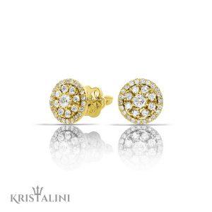 Diamond stud Earrings with a halo of diamonds around the center