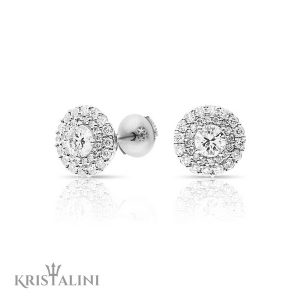 Diamond Stud Earrings set with two halo of Diamonds
