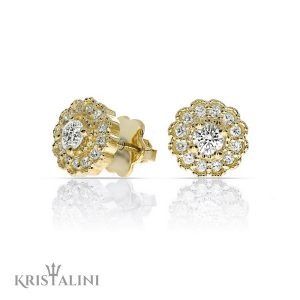 Sun Flower shape Stud Diamond Earrings