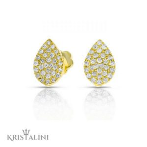 Pear Shape Diamond Stud Earrings 60 stones combination